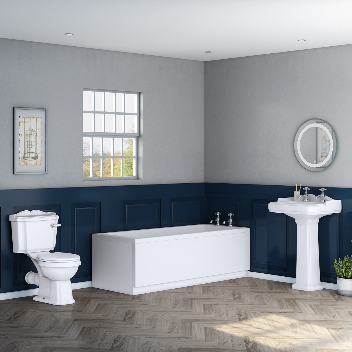 Traditional Bathroom Suite with Single Ended 1700 Bath ...