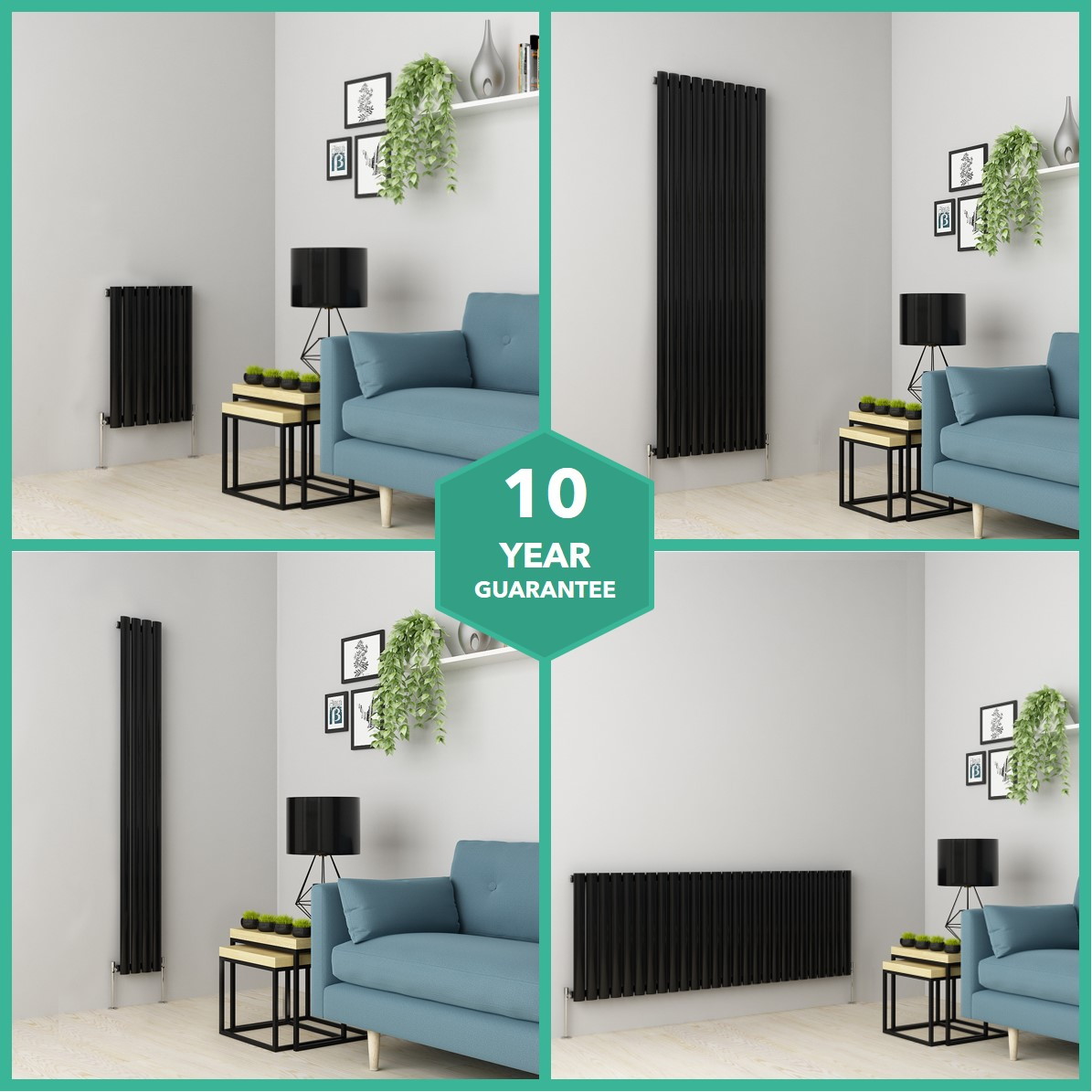 Designer Radiators Vertical Horizontal Single Oval Tube Heating Black Ebay