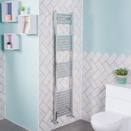 Bergen 1600 x 395mm Straight Chrome Heated Towel Rail