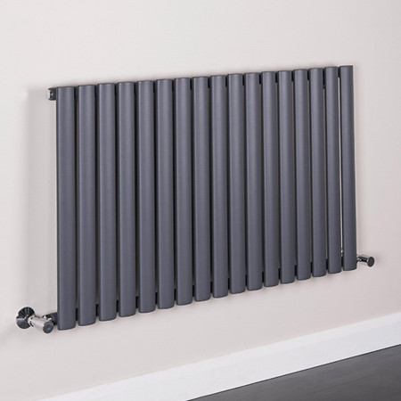 Norden 600 x 1020mm Sand Grey Single Oval Tube Horizontal Radiator