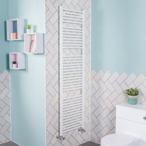 Bergen 1800 x 500mm Straight White Heated Towel Rail