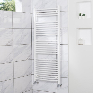 Fjord 1500 x 600mm Curved White Heated Towel Rail