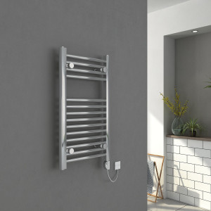 Bergen 700 x 400mm Straight Chrome Electric Heated Thermostatic Towel Rail