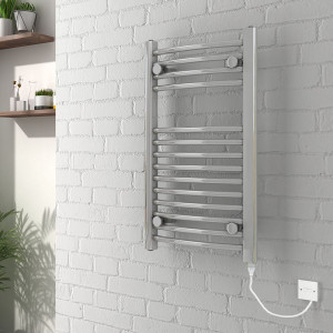 Curved Chrome Electric Heated Towel Rail