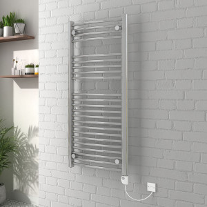 Vienna 1100 x 500mm Curved Chrome Electric Heated Thermostatic Towel Rail
