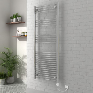 Vienna 1600 x 600mm Curved Chrome Electric Heated Thermostatic Towel Rail