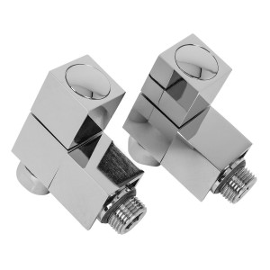 15mm Designer Square Angled Radiator Valves - Pair