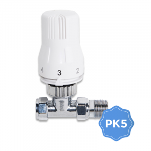 Pack of 5 x 15mm Straight TRV Thermostatic Radiator Valves