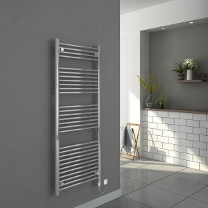 Bergen 1500 x 600mm Straight Chrome Electric Heated Thermostatic Towel Rail
