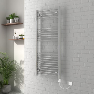 Vienna 1200 x 500mm Curved Chrome Electric Heated Thermostatic Towel Rail