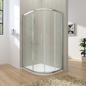 Aquariss 1000 x 800mm Offset Right Hand Quadrant Shower Enclosure with Easy Clean Glass- FREE Shower Tray & Waste