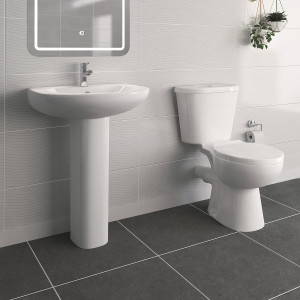 Splash Close Coupled Toilet with 540mm Basin Cloakroom Suite