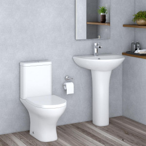 Fresh Curved Close Coupled Toilet and 550mm Basin Cloakroom Suite