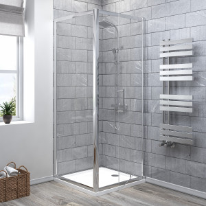 Aquariss® 760 x 760mm Pivot Shower Enclosure with Easy Clean Glass - With Shower Tray & Waste