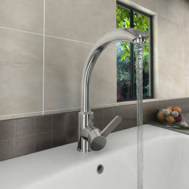 Valle Florence Mono Kitchen Sink Mixer Tap - Stainless Steel