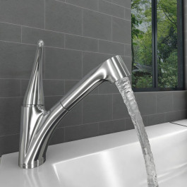 Valle Melbourne Mono Kitchen Sink Mixer Tap with Pull Out Rinser - Stainless Steel