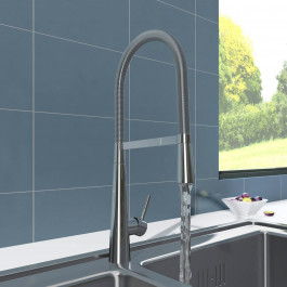 Lugano Mono Kitchen Sink Mixer Tap with Pull Out Rinser