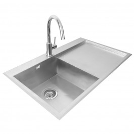 Valle Richmond 860x510mm Left Hand Single Bowl Compact Kitchen Sink - Stainless Steel