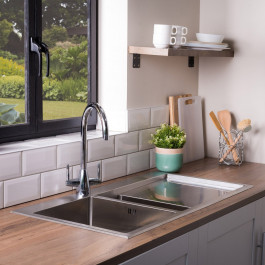 Valle Montreal 1000x510mm Right Hand 1.5 Bowl Kitchen Sink - Stainless Steel