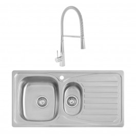 Taber 0.8mm Sink 950x500mm 1.5 Bowl + Lugano Mixer Rinser Tap + Waste