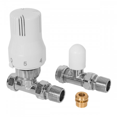 15mm Straight Thermostatic Radiator Valve & Lockshield with 15-8mm reducer