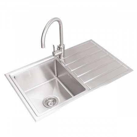 Valle Toronto 800x500mm Right Hand Single Bowl Compact Kitchen Sink - Stainless Steel
