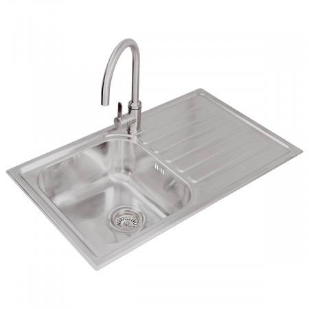Valle Ottawa 850x500mm Right Hand Single Bowl Compact Kitchen Sink - Stainless Steel