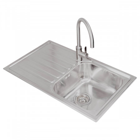 Valle Ottawa 850x500mm Left Hand Single Bowl Compact Kitchen Sink - Stainless Steel