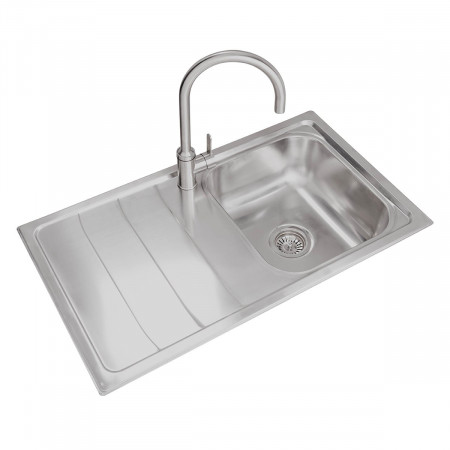 Valle Calgary 860x500mm Left Hand Single Bowl Compact Kitchen Sink - Stainless Steel