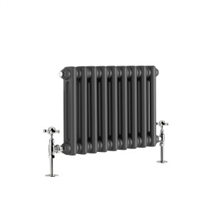 Warmehaus - Traditional Cast Iron Style Anthracite Double Column Horizontal Radiator 300 x 425mm - Perfect for Bathrooms, Kitchen, Living Room
