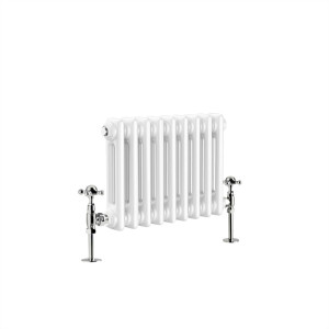 Warmehaus - Traditional Cast Iron Style White Double Column Horizontal Radiator 300 x 425mm - Perfect for Bathrooms, Kitchen, Living Room