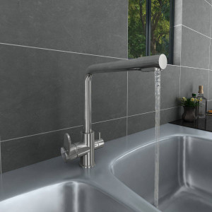 Valle Brisbane Mono Kitchen Sink Mixer Tap with Filter - Stainless Steel