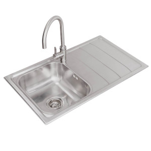 Valle Calgary 860x500mm Right Hand Single Bowl Compact Kitchen Sink - Stainless Steel