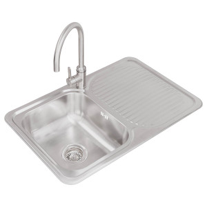 Valle Edmonton 800x500mm Right Hand Single Bowl Compact Kitchen Sink - Stainless Steel
