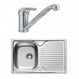Astracast Parallel 800 x 500mm Single Bowl Compact Stainless Steel Kitchen Sink & Tap Pack