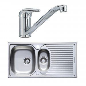 Astracast Parallel 965 x 500mm 1.5 Bowl Stainless Steel Kitchen Sink & Tap Pack