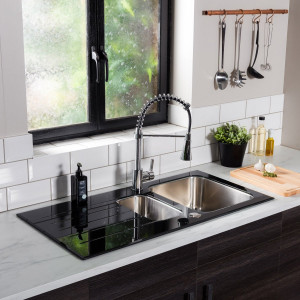 Valle Elsa 1000x500mm 1.5 Bowl Black Glass Kitchen Sink