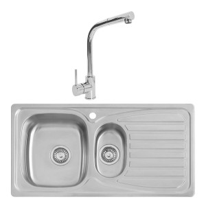 Taber 0.8mm Sink 950x500mm 1.5 Bowl + Berga Single Lever Tap + Waste