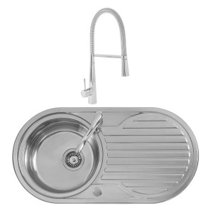 Winnipeg 0.8mm Sink 900 x 470 mm 1.0 Bowl + Lugano Mixer Rinser Tap +Waste