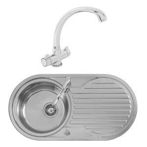 Winnipeg 0.8mm Sink 900 x 470 mm 1.0 Bowl + Zamora Single Lever Tap +Waste