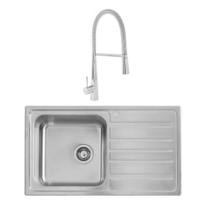 Alberta 0.8mm Sink 860 x 500 mm 1.0 Bowl + Lugano Mixer Rinser Tap +Waste