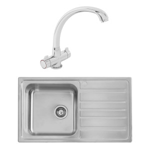Alberta 0.8mm Sink 860 x 500 mm 1.0 Bowl + Zamora Single Lever Tap + Waste