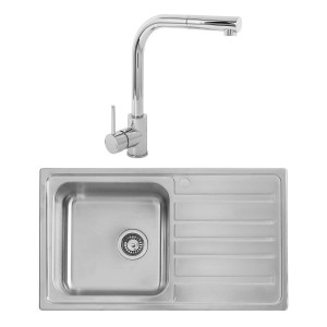 Hudson 0.8mm Compact Kitchen Sink 860 x 500 mm 1.0 Bowl + Berga Single Lever Tap + Waste