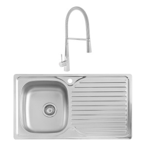 Hudson 0.8mm Compact Kitchen Sink 860 x 500 mm 1.0 Bowl + Lugano Mixer Rinser Tap + Waste