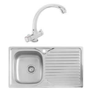 Hudson 0.8mm Compact Kitchen Sink 860 x 500 mm 1.0 Bowl + Zamora Single Lever Tap + Waste