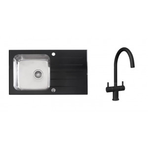 Valle Elsa 860 x 500mm Single Bowl Black Glass Compact Kitchen Sink & Bedo Black Two Handle Mono Kitchen Sink Mixer Tap (Kitchen Sink)