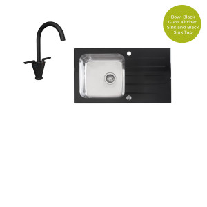 Valle Elsa 860 x 500mm Single Bowl Black Glass Compact Kitchen Sink & Vigo Black Two Handle Mono Kitchen Sink Mixer Tap